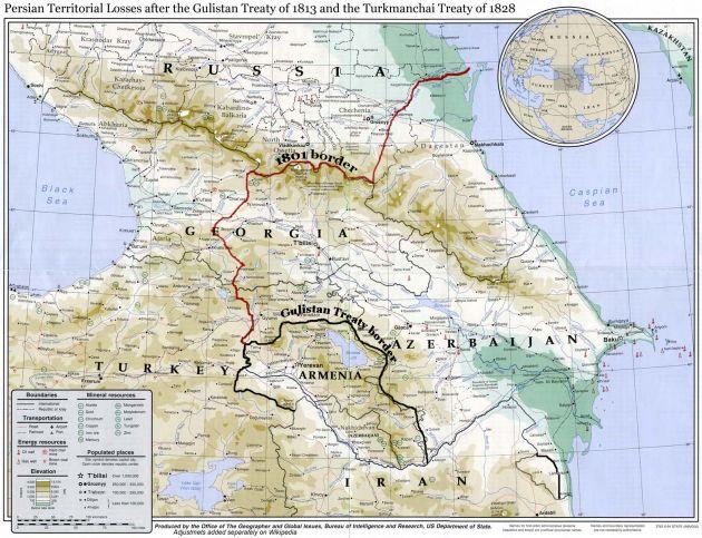 مرز ایران و روسیه تزاری در قفقاز پیش از پیمان نامه گلستان (به رنگ سرخ)