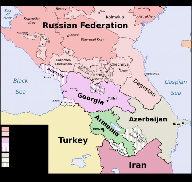 نقشه کشورهای قفقاز