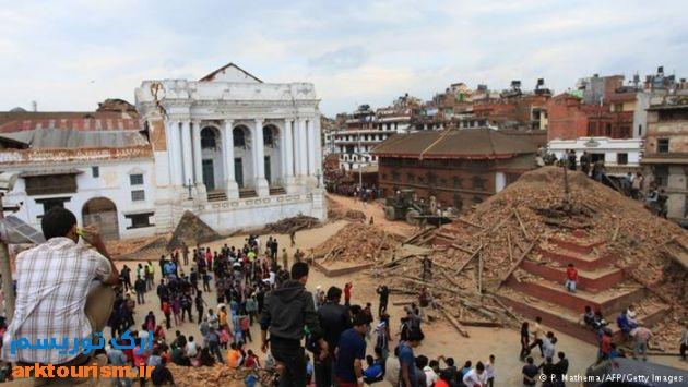 میدان دوربار در کاتماندو پس از زلزله