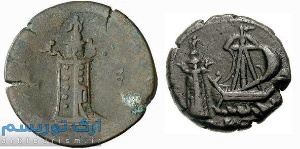 نقش فانوس اسکندریه بر روی سکههایی که در سده دوم میلادی در اسکندریه ضرب شدهاست. ۱: پشت سکه آنتونیوس پیوس، ۲: پشت سکه کومودوس.