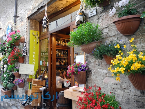 Drinking Wine restaurant in the Umbria village of Spello, Italy. (c) 2011 Tom Kelly